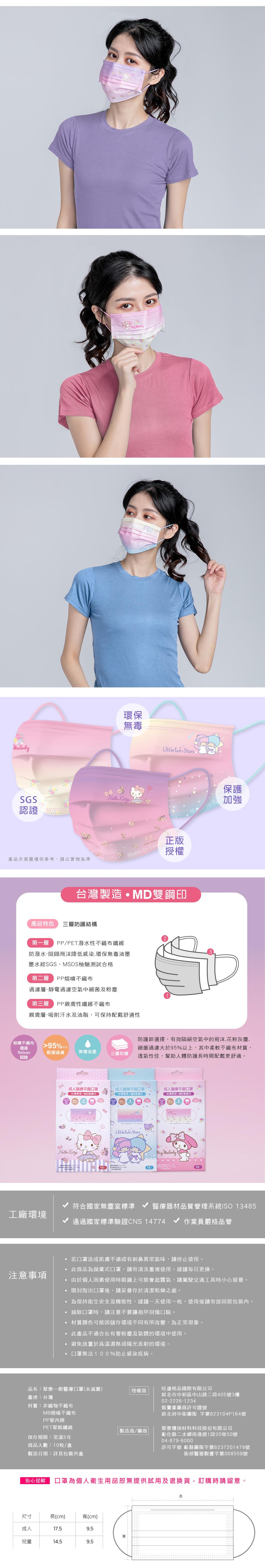 三麗鷗家族醫用口罩-MD雙鋼印(3款各1盒)